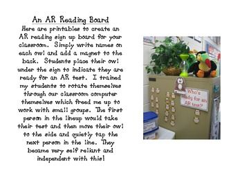 Owl Themed AR Reading Test Sign Up Board: Classroom Idea, Ar Reading, Owl Themed, Test Signs, Files Includ, Test Taker, Includ Printables, Reading Test, Reading Signs