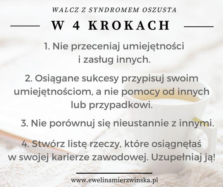 Rozwój Osobisty | Coaching | Syndrom oszusta - jak z nim walczyć? http://www.ewelinamierzwinska.pl/blog/syndrom-oszusta/