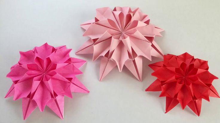 【折り紙】1枚で折るダリア Origami Dahlia - YouTube
