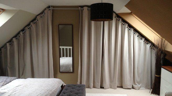 chambre sous pente nid douillet rideaux dressing