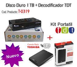 Kit TDT Disco Externo De 1TB Toshiba + Decodificador TDT Accolombia T-0321