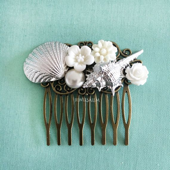 Regalo de concha nupcial pelo peine plata Shell boda pelo peine blanco damas de honor pelo peine playa boda Shell casco Dama de Honor