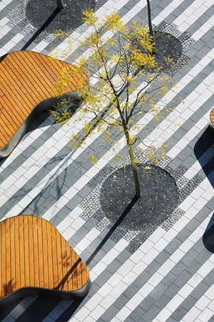 geometric paving patterns mixed with organic street furniture    Town Hall Square   scape Landschaftsarchitekten