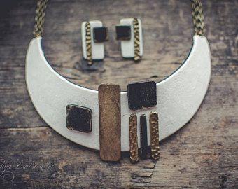 Statement necklace Bib necklace black white gold necklace geometry necklace polymer clay necklace  large Аsymmetric necklace jewelry set