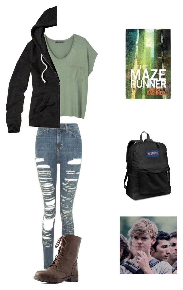 """""""The Maze Runner inspired outfit ( school)"""" by statice-pearl on Polyvore featuring JanSport, MANGO, Topshop, Hollister Co. and Charlotte Russe"""