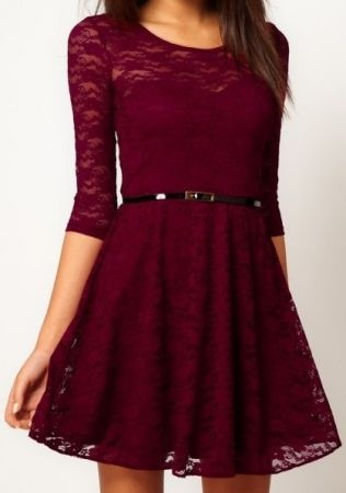 Oxblood Half Sleeve Blet Lace Skater Dress