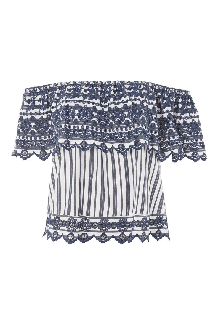 Broderie Striped Bardot Top - Sale Tops - Sale - Topshop USA