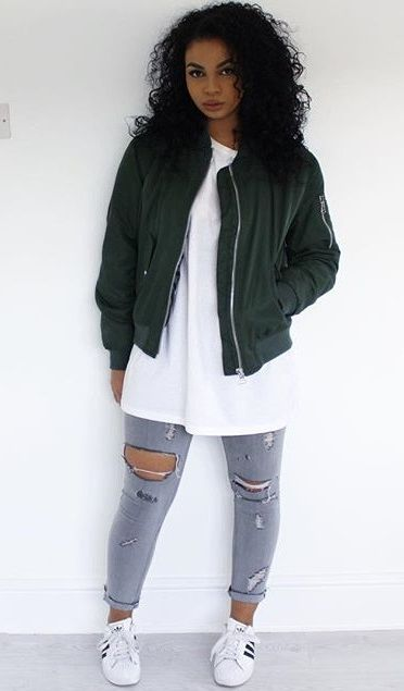Best 25+ Bomber jacket outfit ideas on Pinterest | Bomber jackets Green bomber jacket outfit ...