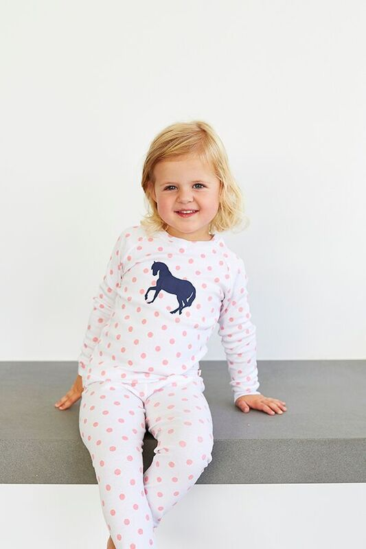 Winter Girls Pink Spot Pony PJ. Soft cotton sleepwear perfect for a good nights sleep