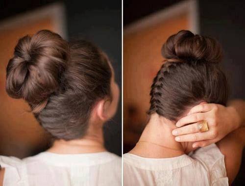Bun with bottom braid