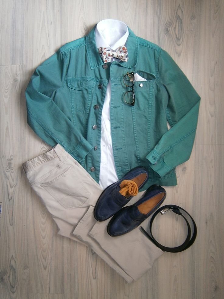 mint jeans jacket / beige chinos / white long arm shirt / bowtie with orange roses / white cotton handkerchief / blue leather loafer / blue suede belt / tortoiseshell glasses / orange cotton socks