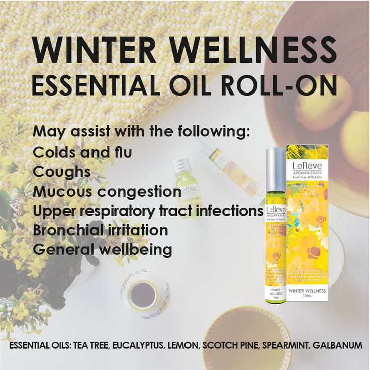 Winter Wellness Essential Oil Roll-On may assist with: colds and flu, coughs, mucous congestion, upper respiratory tract infections, bronchial irritation, general wellbeing and more. The ultimate natural bug-fighting barrier for your home, office, school, travelling or out and about. Winter Wellness is an anti-bacterial blend to alleviate the discomfort of colds and flu easing congestion and clearing nasal passages.