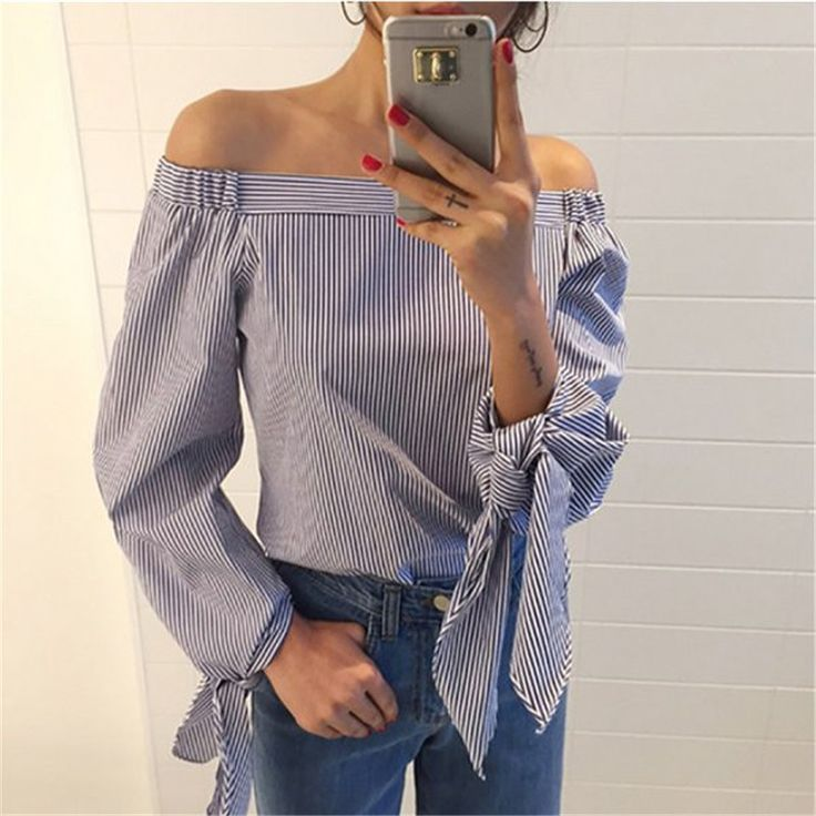 6.93$ (Buy here: http://alipromo.com/redirect/product/olggsvsyvirrjo72hvdqvl2ak2td7iz7/32684471025/en ) 2017 Plus Size Women Sexy Blouses Slash Neck Off Shoulder Bow Long Sleeve Casual Tops Shirts Blue White Striped Party Blusas for just 6.93$