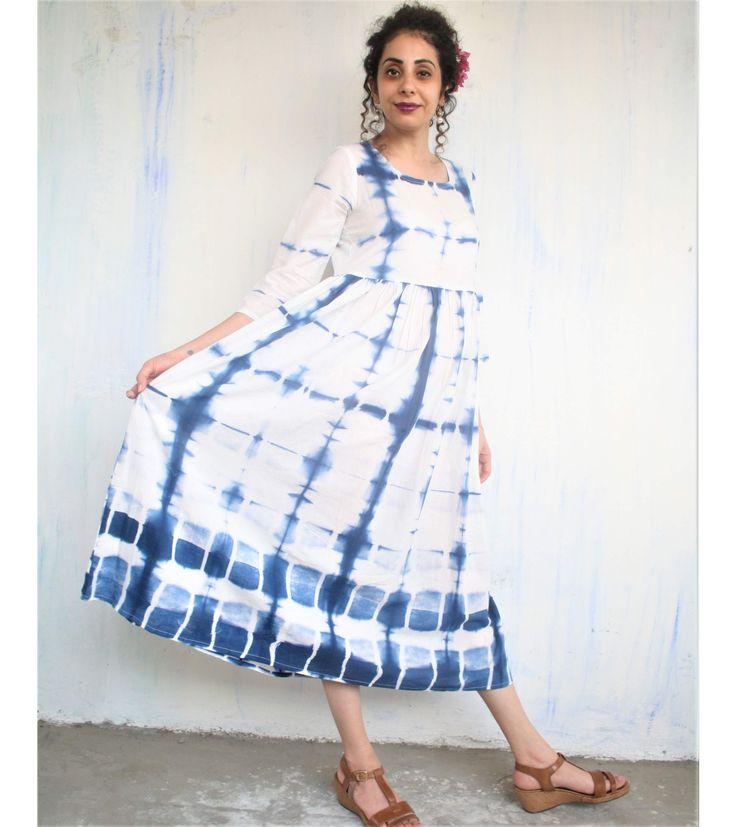 ITAJIME SHIBORI: LOVELY WHITE INDIGO CLAMP DYED DRESS by Chyidaa