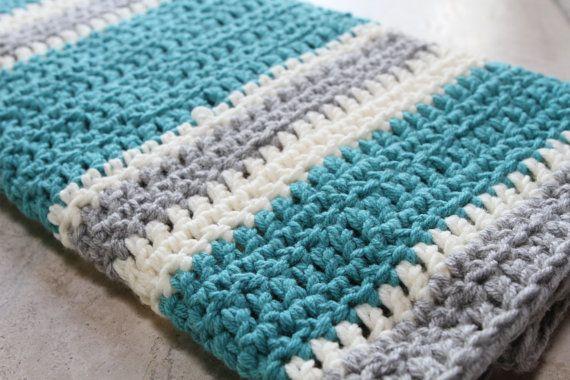 Chunky Striped Modern Crochet Baby Blanket Cream Aqua