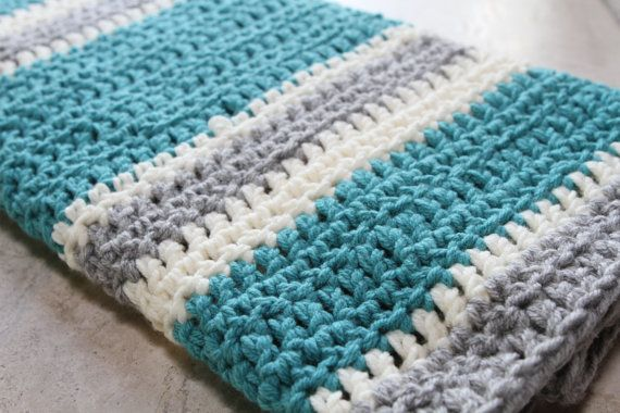 Chunky Striped Modern Crochet Baby Blanket - Cream - Aqua - Light Gray Croc...