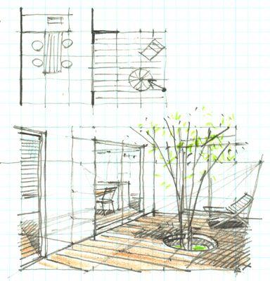 庭や外観のパースもインテリアパースと同じ起こし方でも起こせますよ。 今回はデッキのスケッチです。 押忍