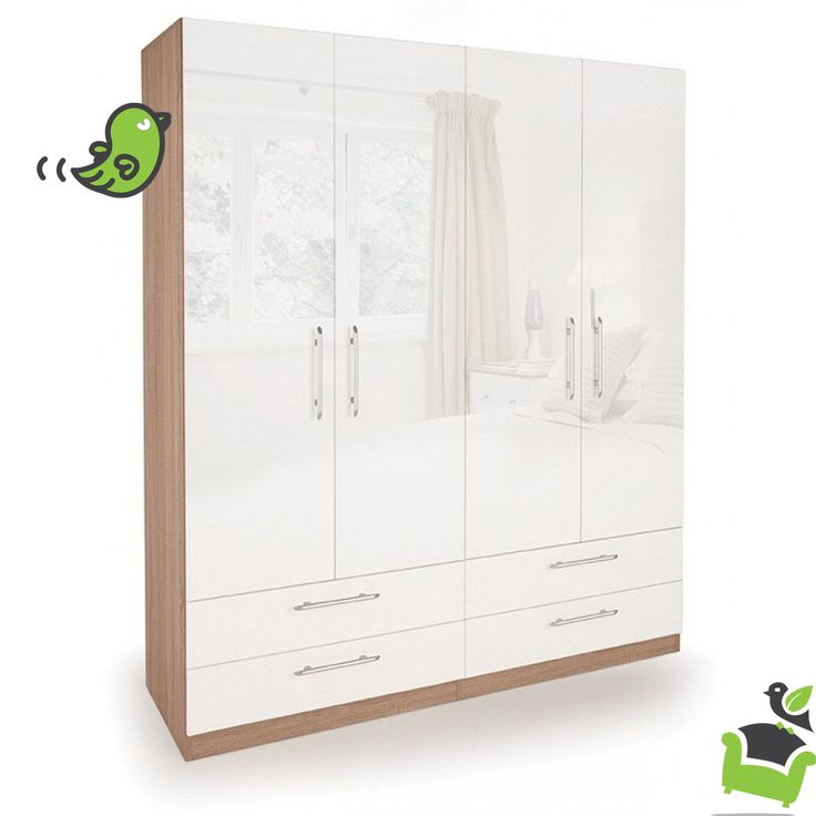 Connect Kew 4 Door Wardrobe with 4 Drawers- High Gloss White #Bedroom #wardrobes