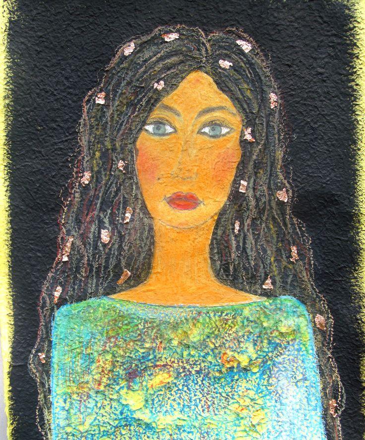 Ewa Andruszkiewicz. ''Pewna Pani'' 55x80. akwarela, pastele