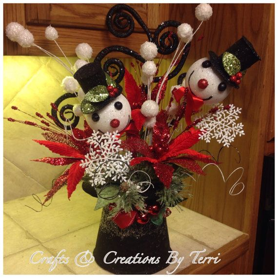 Snowman Arrangement  RAZ Tophat Arrangement  by CreatedByTerri