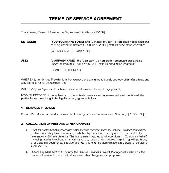 22 Free Service Agreement Template