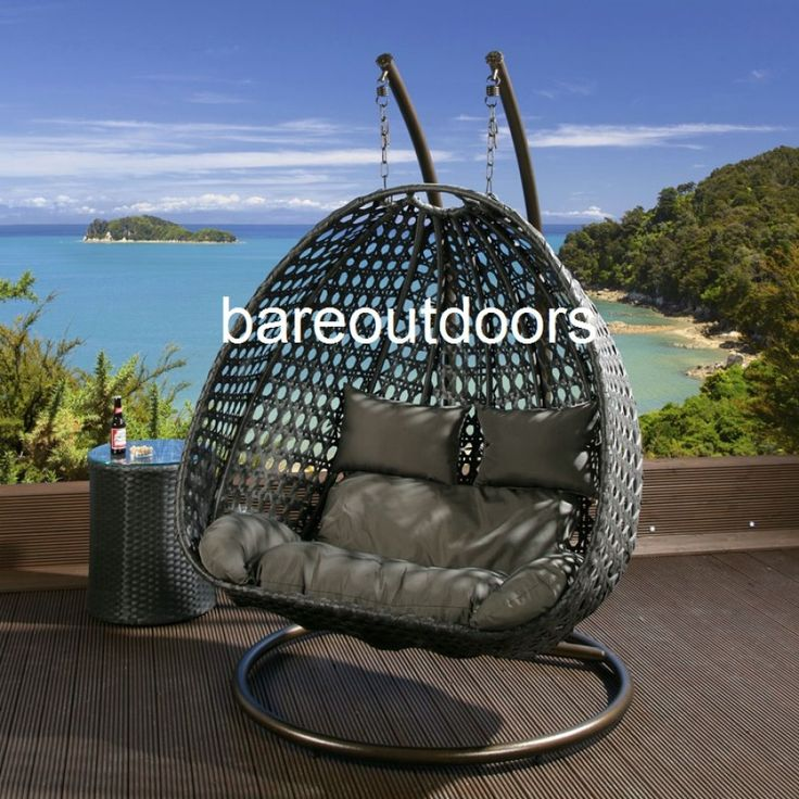 Double Seater Hanging Pod Chair Black with Grey Cushions