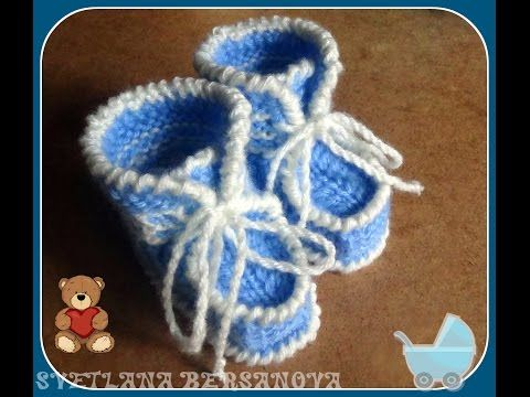 Голубые пинетки спицами. Часть 1. knitting booties for the baby - YouTube — Яндекс.Видео