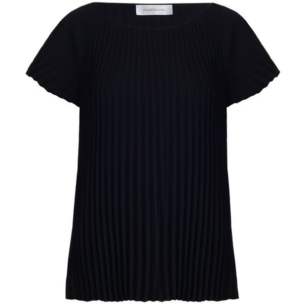 ZIMMERMANN Fanned Tee (735 BRL) ❤ liked on Polyvore featuring tops, t-shirts, raglan t shirt, zimmermann, boat neck t shirt, flared top and flare top