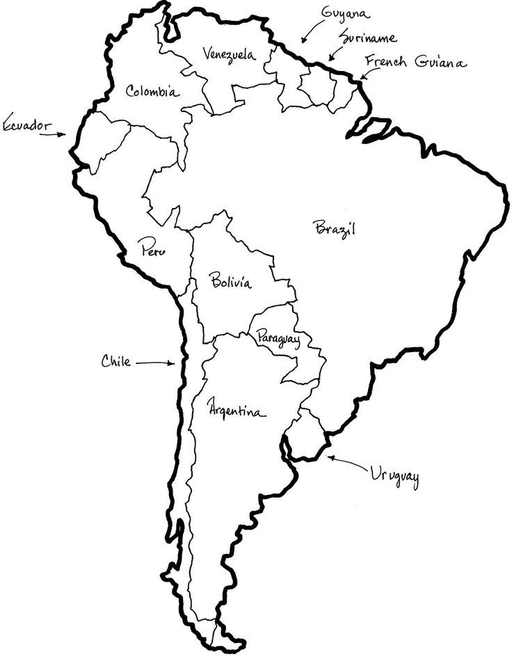 South America Coloring Page : south, america, coloring, Printable, South, America, Borders, Country, Names, Latin