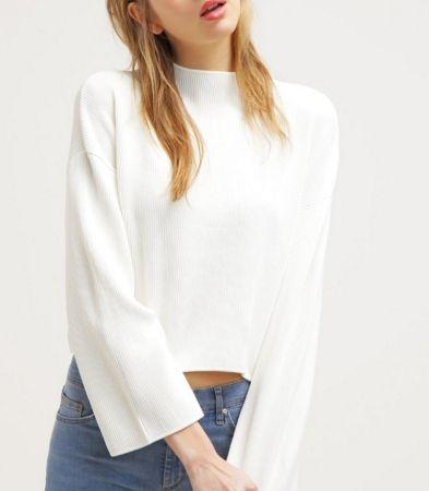 Topshop Sweter biały krótki z półgolfem cream