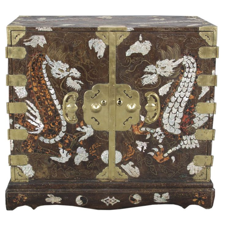 Korean mother of pearl inlay   Korean Mother-of-Pearl and Tortoiseshell Inlaid Lacquer Chest at ...