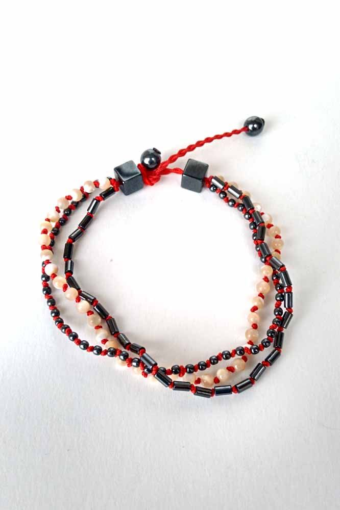 MEN'S TRIPLE WRAPPED BRACELET WITH SEMI PRECIOUS STONES AND IVORY