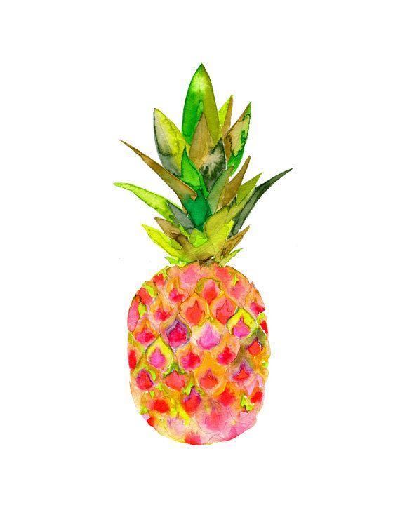 Ananas rose imprimé aquarelle.  Archives Art par SnoogsAndWilde