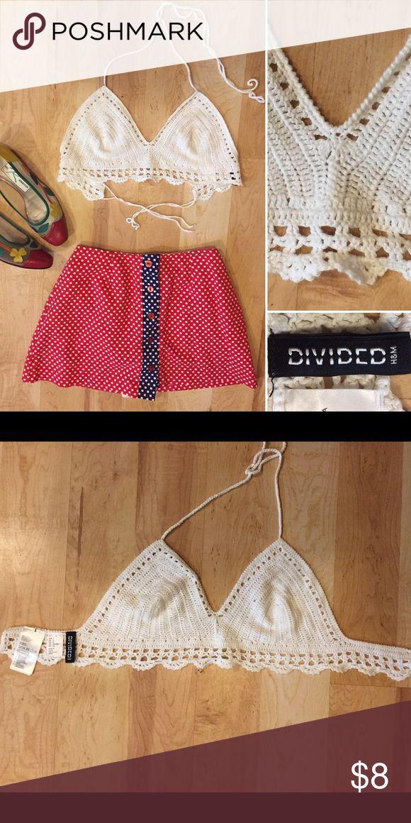 H&M Divided White Crochet Festival Bikini Top S H&M Divided white crochet bikini top. S H&M Tops Camisoles