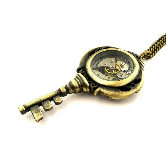 38 best steampunk skeleton keys images on pinterest skeleton keys steampunk key pendant locket clockwork skeleton key necklace aloadofball Images