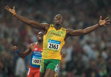 Usain Bolt of Jamaica setting the world record in the 200M final at the 2008 Beijing Summer Olympics.  Check out more great Olympic Shots in this free chapter from Visual Stories by Vincent LaForet