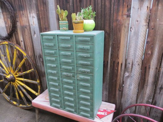 Rustic Homemade Wooden Workshop Organizer Cabinet Box, 36 Drawers: Pastel Green Folk Art Utility Storage Chest with Distressed Patina