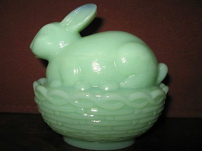 Jadeite green milk glass bunny rabbit on nest basket candy dish for easter eggs jade