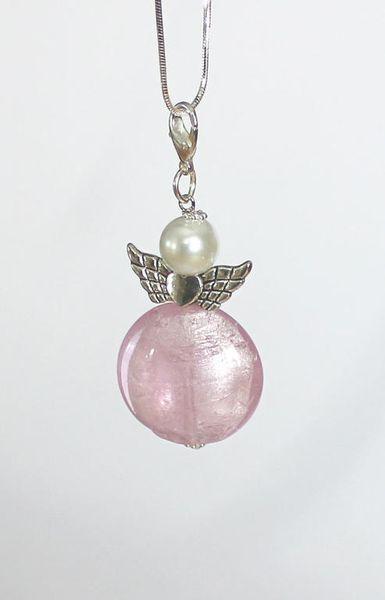 Halsband - Ängel - Rosa med lång silverkedja