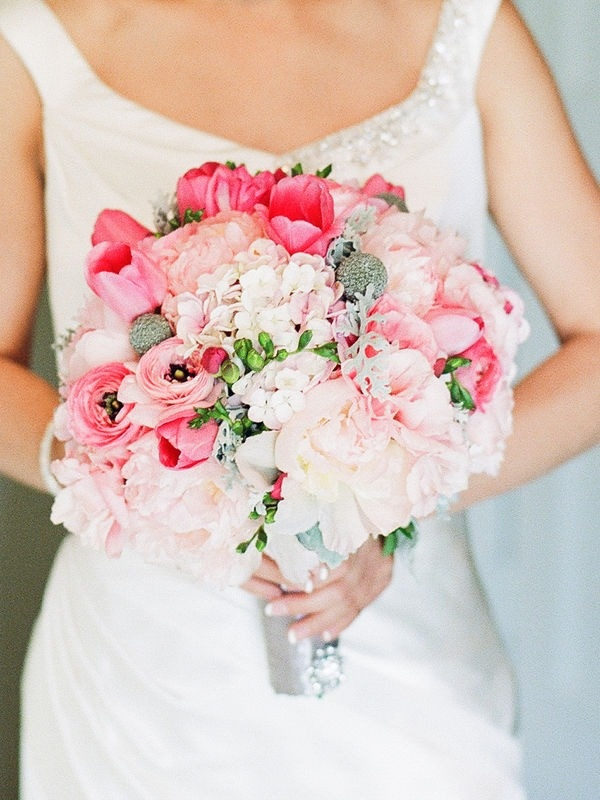 Love the pink tulips and freesia in this bouquet