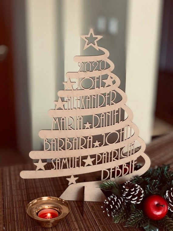 Personalized Family Name Christmas Tree Custom Xmas Gift Etsy In 2020 Christmas Crafts Decorations Wood Christmas Tree Personalized Family