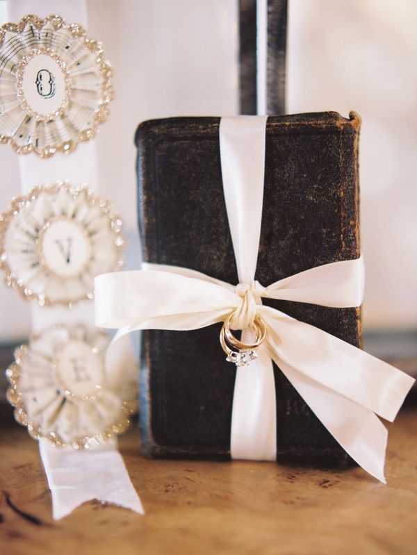 A vintage Bible or family Bible used instead of a ring pillow