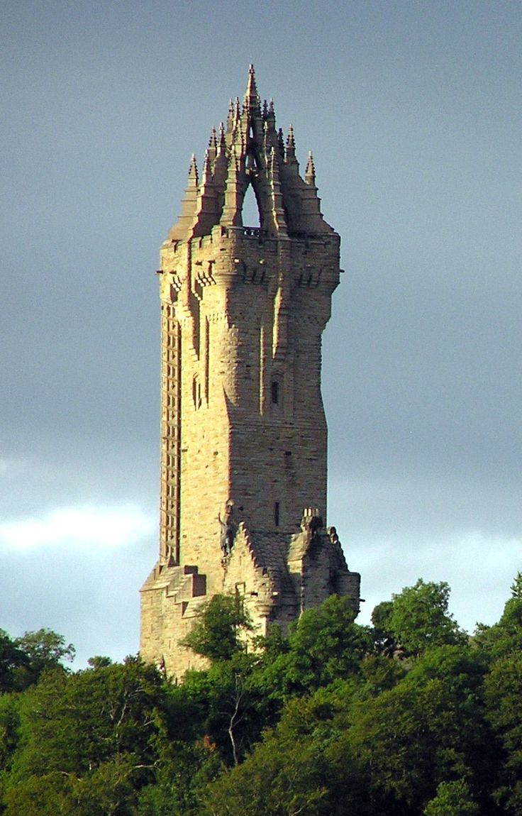 The Wallace Monument commemorates William Wallace, the 13th-century Scottish hero.  The monument is near Stirling, Scotland.