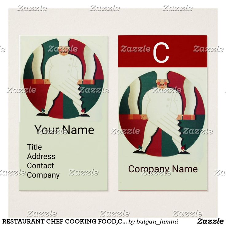 RESTAURANT CHEF COOKING FOOD,CATERING MONOGRAM BUSINESS CARD #food #culinary #catering #kitchen #cook #art