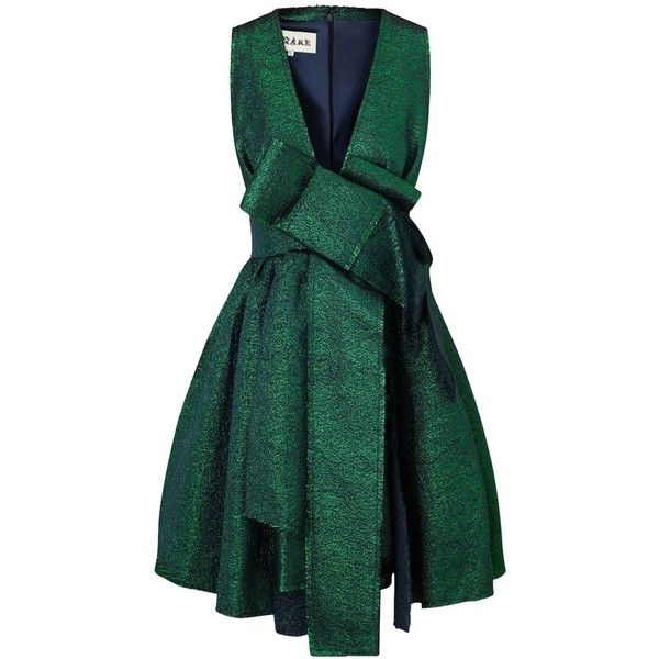 A.W.A.K.E. Green Metallic Jacquard Bow Dress ($840) ❤ liked on Polyvore featuring dresses, short dresses, green, green mini dress, green sparkly dress, green dress and plunge dress