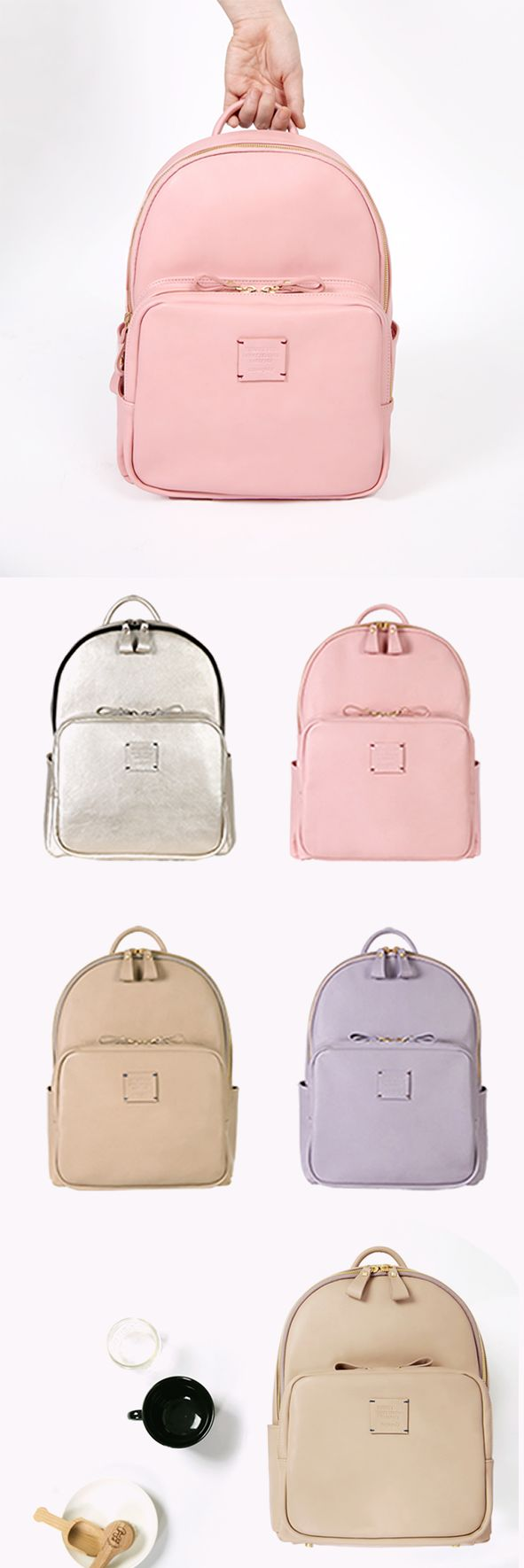 Mochila Backpack Back Pack Rosa Pink Plateada Lila Violeta Purple Marrón Nude Cuero