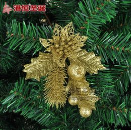 2016 Luxury Christmas Ornaments Wholesale-Christmas tree Ornament 14cm golden luxury hollow out Christmas flowers with powder Grain decoration (CF-036) Luxury Christmas Ornaments on sale