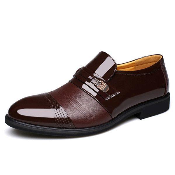Men Cap Toe Pointed Toe Slip On Business Formal Shoes  #men #shoes #fashion