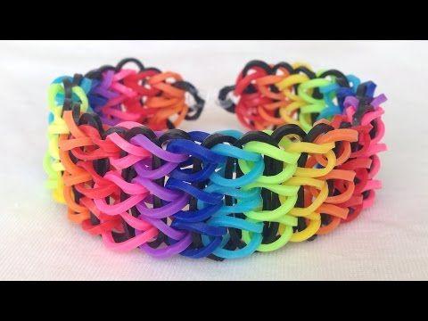 Rainbow Loom-Pulseira De Elásticos com o garfo-Loom Bands Bracelet - YouTube