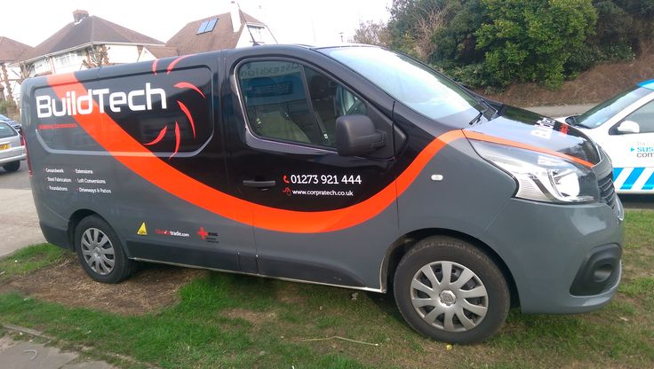 BuildTech van partially vinyl wrapped done by The Sussex Sign Company